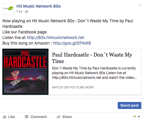 post shoutcast and icecast songs to facebook with youtube videos